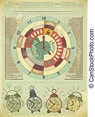 concetto, tempo, lavoro, -, elementi, retro, infographics