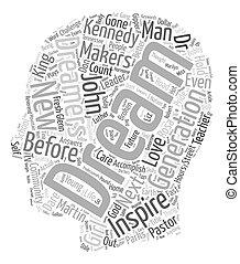 concetto, testo, wordcloud, sognatore, fondo, dove