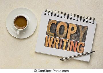 concetto, tipo, legno, copywriting