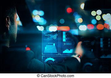 concetto, trasporto, futuristico