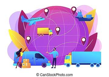 concetto, trasporto, illustration., globale, sistema, vettore