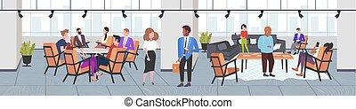 concetto, ufficio, comunicazione, moderno, co-working,...