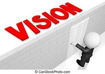 concetto, uomo affari, visione, 3d