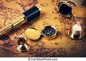 concetto, vendemmia, -, avventure, dall'aspetto, articoli, navigazione