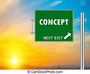 concetto, verde, strada, segno