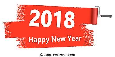 concetto, vernice, 2018, anno, nuovo, rullo