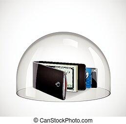 concetto, vetro, -, cupola, portafoglio, protezione