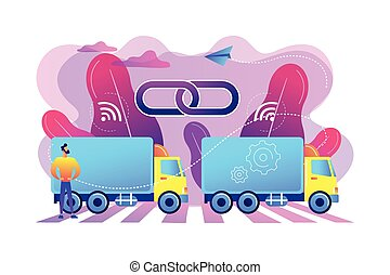 concetto, vettore, camion, platooning, illustration.