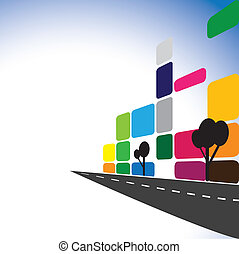 concetto, vettore, -, colorito, costruzioni ufficio, appartamenti, skyscrapers., il, grafico, illustrazione, anche, rappresenta, città, centro, con, moderno, strade, costruzione, beni immobili, industria, commerciale, complexes