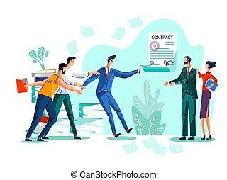 concetto, vettore, contratto, illustrazione, conclusione