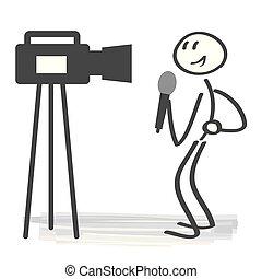 concetto, vettore, giornalista, illustrazione, radiodiffusione