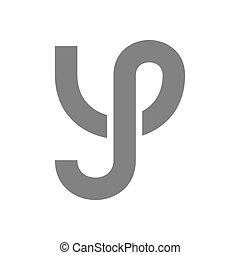 concetto, vettore, lettera y, logotipo, icon.