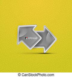 concetto, vettore, lucido, freccia, tecnologia, 3d