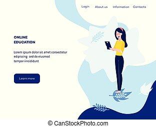 concetto, vettore, studente, linea, ragazza, educazione