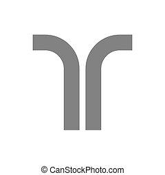 concetto, vettore, t, lettera, logotipo, icon.