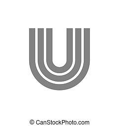 concetto, vettore, u, lettera, logotipo, icon.