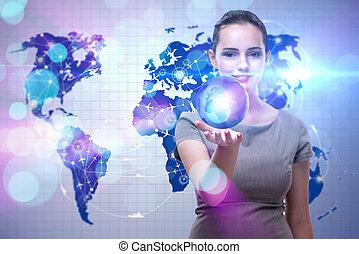 concetto, viaggiare, globale, donna