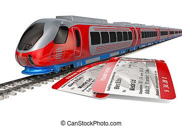 concetto, viaggio treno, alto, interpretazione, tickets., velocità, 3d
