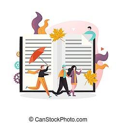 concetto, web, vettore, bandiera, sito web, stagione, autunno, pagina