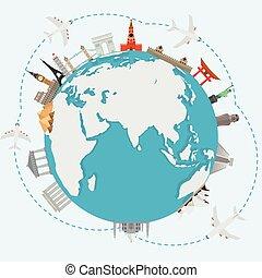 concetto, world., intorno, viaggiare