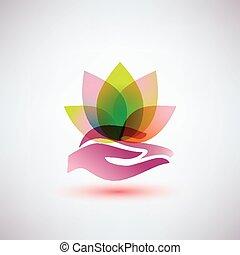concetto, yoga, fiore loto, tenere mani, icona, meditazione
