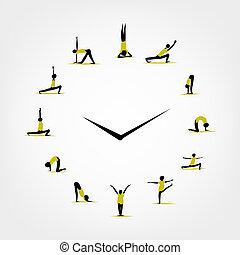 concetto, yoga, orologio, tempo, disegno, tuo