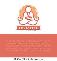concetto, yoga, spazio, text., disegno, sagoma, copia