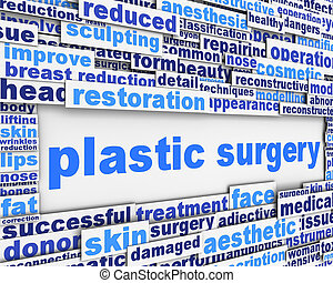 concettuale, chirurgia, disegno, messaggio, plastica