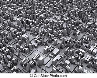 concettuale, città, illustrazione