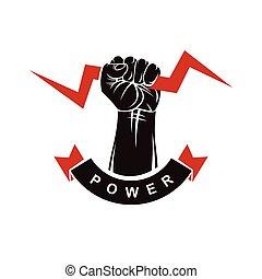 concettuale, forte, stretto, composto, simbolo., pugno, usando, logotype., autorità, vettore, lampo, logotipo, elevato, decorato, potere, muscolare
