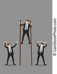 concettuale, illustrazione, uomo affari, vettore, trampoli
