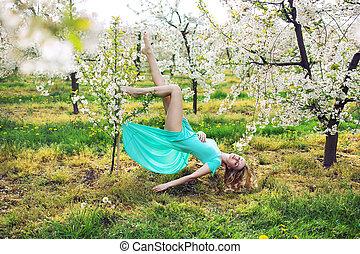 concettuale, immagine, donna, giardino, levitating