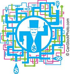 concettuale, immagine, risparmiare, acqua