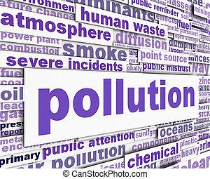 concettuale, messaggio, disegno, inquinamento