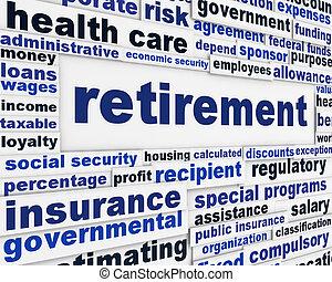 concettuale, messaggio, pensionamento, fondo