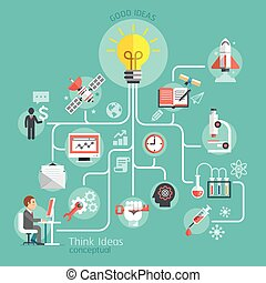 concettuale, pensare, idee, design.