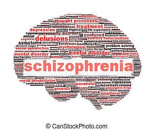 concettuale, schizofrenia, disegno, simbolo