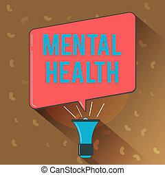 concettuale, scrittura mano, esposizione, mentale, health., affari, foto, testo, psicologico, e, emotivo, wellbeing, condizione, di, uno, dimostrare