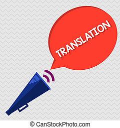 concettuale, scrittura mano, esposizione, translation., affari, foto, showcasing, processo, di, tradurre, parole, testo, da, uno, lingua, in, un altro
