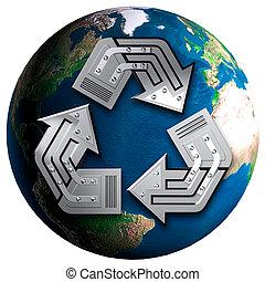 concettuale, simbolo ricicla