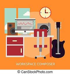 concettuale, workspace, disegno, compositore, illustrazione