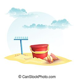 concha, ancinho, balde, ilustração, crianças, areia