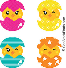 concha, isolado,  retro, galinha, ovo, branca, Feliz