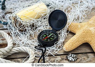 concha, madeira, decoração,  -, marítimo,  starfish, fundo, compasso