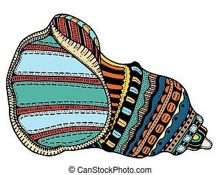 concha marina, arte de línea