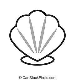 concha marina, caricatura, icono