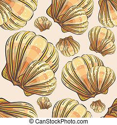 concha marina, seamless, ilustración, mano, venera, retro, ...