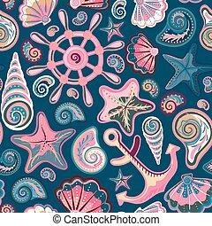 concha marina, -, seamless, ilustración, vector, patrón