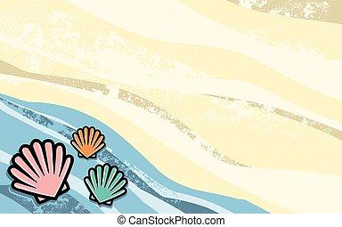 concha marina, vector, icono