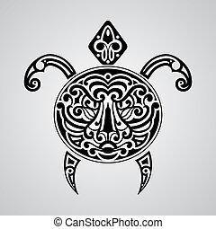 concha, tartaruga, rosto, tiger, vetorial, seu